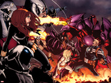 Onslaught Unleashed No.1 Cover: Steve Rogers, Onslaught, Black Widow, and Moon Knight Fighting Plakater av Humberto Ramos