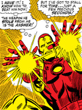 Marvel Comics Retro: The Invincible Iron Man Comic Panel, Fighting and Shooting Print