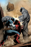 Marvel Adventrues Super Heroes No.5 Cover: Captain America and Rhino Fighting Photo by Clayton Henry