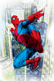 Spider-Man Badge: Squares and City in Background, Spider-Man Swinging Planscher