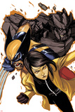 Wolverine and Jubilee No.4 Cover: Jubilee, Wolverine, and Rockslide Charging Prints by Nimit Malavia