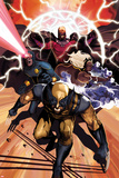 Origins of Marvel Comics: X-Men No.1 Cover: Wolverine, Storm, Cyclops, and Magneto Running Plakater af Mike Del Mundo
