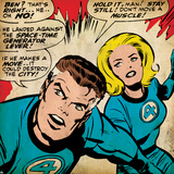Marvel Comics Retro: Fantastic Four Comic Panel, Mr. Fantastic, Invisible Woman (aged) Prints