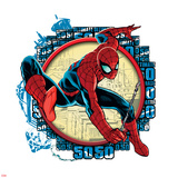 Spider-Man Badge: Repeating Ultimate 50 and City Background, Spider-Man Swinging Poster