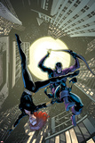 Marvel Adventures Super Heroes No.17 Cover: Black Widow and Hawkeye Jumping Poster by Barry Kitson