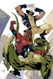 X-Men No.10 Cover: Wolverine and Spider-Man Fighting while Falling Photographie par Terry Dodson