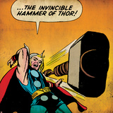 Marvel Comics Retro: Mighty Thor Comic Panel, Throwing Hammer (aged) Posters