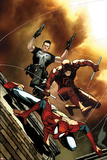 Steve MCNiven - Avenging Spider-Man No.6 Cover: Spider-Man, Daredevil, and Punisher Jumping Obrazy