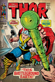 Marvel Comics Retro: The Mighty Thor Comic Book Cover No.144, Charging, Swinging Hammer (aged) Prints
