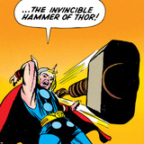 Marvel Comics Retro: Mighty Thor Comic Panel, Throwing Hammer Poster