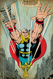 Marvel Comics Retro: Mighty Thor Comic Panel, Flying (aged) Photo