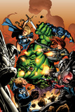 Incredible Hulks No.614 Cover: Hulk, Steve Rogers, Valkyrie, and Black Widow Fighting Prints by Carlo Pagulayan
