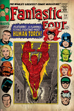 Marvel Comics Retro: Fantastic Four Family Comic Book Cover No.54, Featuring the Human Torch (aged) Print