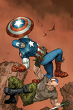 Ultimate Captain America No.3 Cover: Captain America and Frank Simpson Fighting and Falling Prints by Ron Garney
