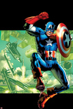 Captain America: Man Out of Time No.4 Cover: Captain America Jumping with his Shield Prints by Bryan Hitch