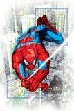 Spider-Man Badge: Squares and City in Background, Spider-Man Swinging Posters