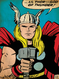 Marvel Comics Retro: Mighty Thor Comic Panel; God of Thunder! Holding Hammer (aged) Prints