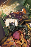 Klaws of The Panther No.3 Cover: Black Panther and Spider-Man Crouching Photographie par Mike Del Mundo