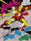 Marvel Comics Retro: The Invincible Iron Man Comic Panel, Fighting and Deflecting Posters