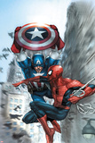 Avenging Spider-Man No.5 Cover: Spider-Man and Captain America Posters par Leinil Francis Yu