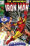 Marvel Comics Retro: The Invincible Iron Man Comic Book Cover No.25, Fighting Namor, Sub-Mariner Prints