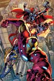 Avengers: Age of Ultron No.0.1: Iron Man, Thor, and Protector Flying Prints by Bryan Hitch