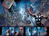 Ultimate New Ultimates No.5: Panels with Thor Holding Mjonir, Screaming in a Storm Affischer av Frank Cho