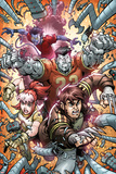 X-Campus No.4 Cover: Wolverine, Rogue, Colossus, and Nightcrawler Charging Print by Todd Nauck