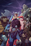 Thor: God of Thunder 15 Cover: Thor, Lady Waziria, Oggy, Ud, Ivory Honeyshot, Screwbeard Posters by Ron Garney