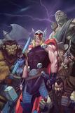 Thor: God of Thunder 15 Cover: Thor, Lady Waziria, Oggy, Ud, Ivory Honeyshot, Screwbeard Posters by Ron Garney