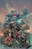 Avengers 13 Cover: Spider Woman, Spider-Man, Hawkeye, Iron Man, Thor, Hyperion, Terminus Prints by Leinil Francis Yu