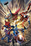 Avengers: Age of Ultron No.0.1 Cover: Captain America, Wolverine, Hawkeye, Spider-Man and Others Poster av Bryan Hitch