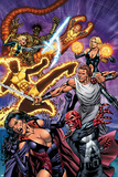 New Mutants Forever No.3 Cover: Selene, Cannonball, Sunspot, and Magik Fighting Posters by Al Rio
