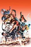 Ultimate Comics Ultimates 24 Cover: Hawkeye, Tigra, Quake, Thor, Captain America, Wonder Man Poster by Mike Deodato