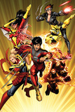 Avengers 11 Cover: Shang-Chi, Sunspot, Captain Marvel, Black Widow, Cannonball, Spider Woman Poster by Dustin Weaver