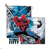 Spider-Man Badge: Battle Against Rhino Panels and Blue Splatters, Spider-Man Swinging Photo