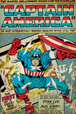 Marvel Comics Retro: Captain America Comic Panel; Smashing through Window (aged) Print