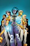 New X-Men No.1 Cover: Ashido, Noriko, Wind Dancer, Prodigy and New X-Men Fighting Print by Randy Green