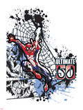 Spider-Man Badge: Panels, Splatter, Web, and Logo, Spider-Man Jumping Print