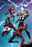 Ultimate Spider-Man No.157 Cover: Spider-Man, Captain America, Thor, and Iron Man Prints by Mark Bagley