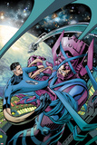 Fantastic Four No.586 Cover: Mr. Fantastic and Galactus Fighting Poster by Alan Davis
