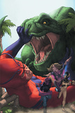 Avengers Academy No.25 Cover: Giant Man, Mettle, and Hazmat Fighting and Escaping a Dinosaur Poster by Rodin Esquejo