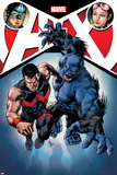 A+X 12 Cover: Captain America, Jubilee, Wonder Man, Beast Plakater af Mike Deodato
