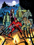 Daredevil 32 Cover: Daredevil, Satana, the Living Mummy, Frankensteins Monster, Werewolf by Night Posters by Chris Samnee