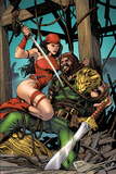 Herc No.10 Cover: Elektra and Hercules Fighting Print by Carlo Pagulayan