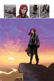Black Widow No.5: Black Widow Standing on a Cliff in front of a Sunset Posters by Daniel Acuna
