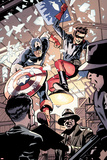 Captain America and Bucky No.621: Busting in on Some Crime! Poster by Chris Samnee