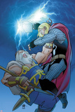 Thor No.619 Cover: Thor and Odin Fighting Prints by Pasqual Ferry