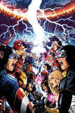 Avengers Vs. X-Men No.1 Cover: Captain America, Cyclops, Emma Frost, Gambit and Others Screaming Reprodukcje autor Jim Cheung
