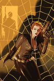 Black Widow No.5 Cover: Black Widow Standing in Front of a Web with a Gun Print by Daniel Acuna